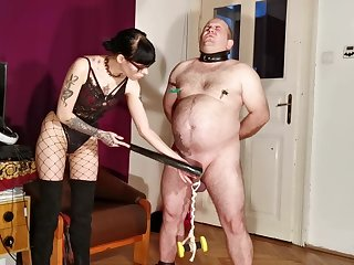 Goth domina painful CBT & bellypunch her fat waiting upon pt1 HD
