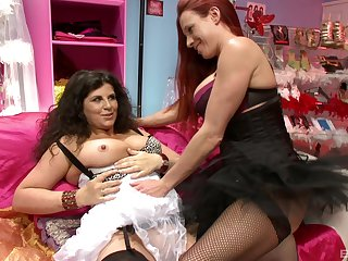 Passionate lesbian sexual intercourse between Faye Rampton added to Gilly Sampson