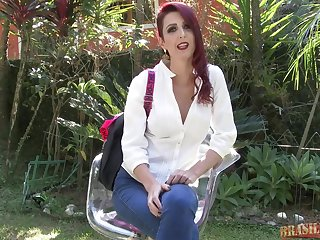 Red haired lady is very spry sucking a handsome guy's dick in the nature, during the day