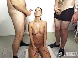 PremiumBukkake - Vicky Love swallows 17 huge nip cumshots