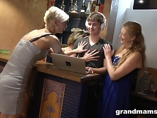 Three sex-crazy mature women think the world of handsome lad and beg him cum several times