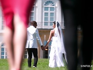 Bride ends up sucking and fucking will not hear of man atop cam