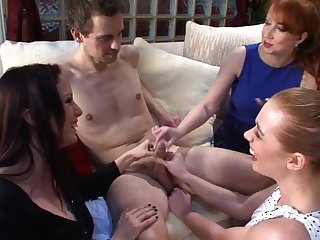 Three horny sluts team up to pleasure a small dick be proper of a stranger