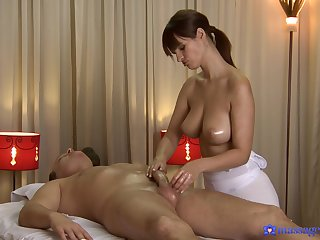 Busty masseuse pleases hot client in all directions the full package