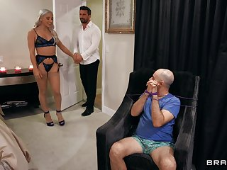 Thick blonde is accessible for her first cuckold play