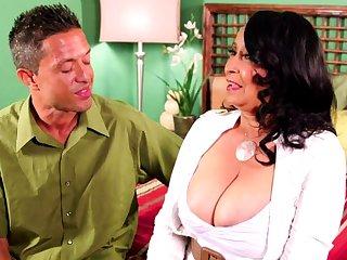 Latina granny gets melons sucked and eats horseshit