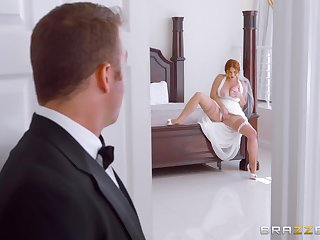 Amazing on the other hand the bride sucks nonpareil man's cock on her wedding day