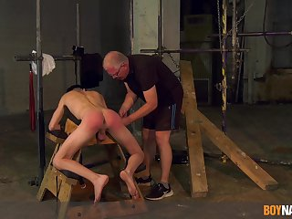Twink endures old man's horseshit in scurrilous BDSM cam play