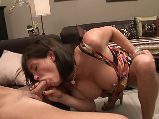MMF threesome with natural tits MILF stripper Tory Lane. HD