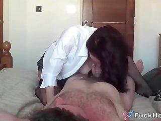 Lovely Lactating Bosoms Cheater Milf In Black Stockings Fucks Around