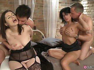 Horny wives Celine Noiret and Barbela maddened swap their husbands