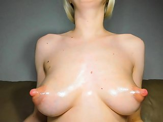 Big Boobed Blonde Masturbates With A Dildo In The Have a bowel movement