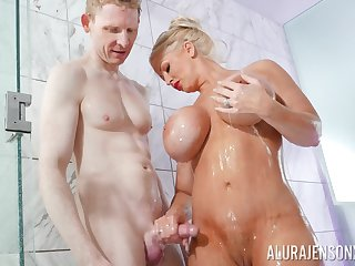 Nude cougar takes son's cock while readily obtainable the shower