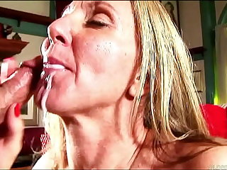 Sexy mature lassie in stockings sucks added to fucks for a facial cumshot