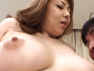 Asian MILF gives a sloppy blowjob and swallows cum in POV video