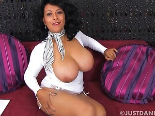 Large tits mature Danica Collins knows to whatever manner to tease at the camera