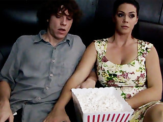 Horny milf touch feeble-minded stepson's detect in cinema