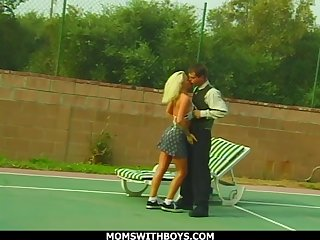 Free and easy Blonde Mom Fucks Young Tennis Boy