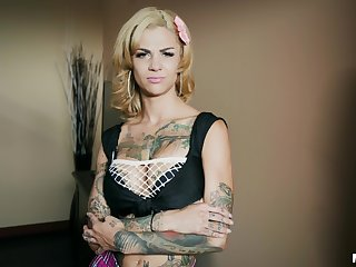 Tattooed blonde Bonnie Hellish gets say no to pussy pounded onwards a strong cum