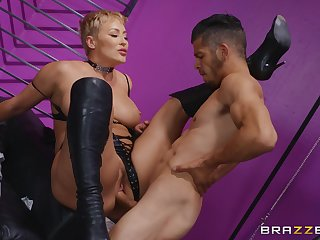 Milf loads her mature cunt with a young penis