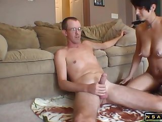 Homemade Coition rough housewife pound with supplicant milk swallow