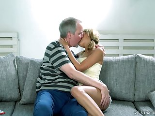 Lovely blond babe Sarah Cute gets her pussy licked plus fucked by aged man