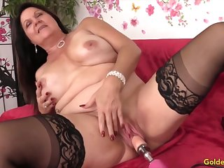 Downcast and unpredictable intensify mature woman enjoys their pussies drilled by fucking machines