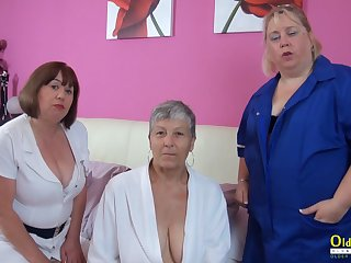 OldNanny Trisha and Lexie and Savana, lesbians just about action