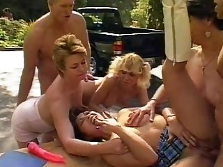 Steamy outdoor orgy with Sharon Woods and other horny stunners