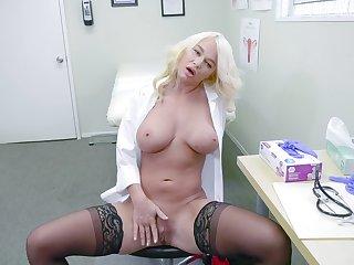 Sissified doctor enjoys a break by masturbating hard