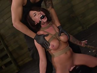Gagged mollycoddle handles the gumshoe in perfect BDSM scenes